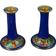 "Porcelain Blank Arts & Crafts Fruit Motif Candlesticks (Signed ""Nina Rogers""/Dated 1930)"