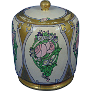 "American Satsuma Conventional Rose Motif Covered Jar (Signed ""R.C.""/c.1917-1930)"