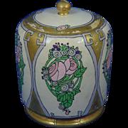 "American Satsuma Conventional Rose Motif Covered Jar (Signed ""R.C.""/c.1917-1930) - Keramic Studio Design"