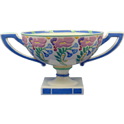 "Lenox Belleek Arts & Crafts Enameled Floral Design Handed Pedestal Bowl (Signed ""A. Holt""/c.1906-1924)"