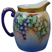 "Tressemann & Vogt (T&V) Limoges Dorique Grapes Motif Pitcher (Signed Shafer""/Dated 1912)"