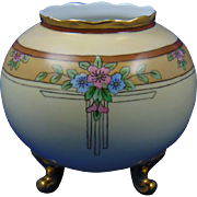 Bavaria Porcelain Art Deco Floral Motif Footed Vase (c.1910-1930)