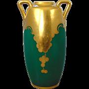 "Osborne Studios Oscar & Edgar Gutherz (O&EG) Austria Matte Green & Etched Gold Grape Motif Vase (Signed ""Podlaha"" for Otto Podlaha/c.1917-1940)"