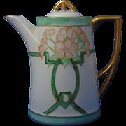 "Carl Tielsch (CT) Altwasser Silesia Arts & Crafts Floral Motif Syrup Pitcher (Signed ""Lane""/c.1895-1918)"