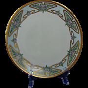 Thomas Bavaria Arts & Crafts Enameled Floral Design Plate (c.1908-1930)