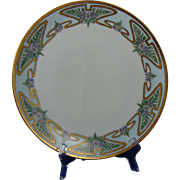 Thomas Bavaria Arts & Crafts Enameled Floral Design Plate (c.1908-1930)