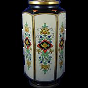 """American Satsuma Arts & Crafts Floral Panels Design Vase (Signed """"JB""""/c.1910-1920)"""