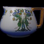 "Bernardaud & Co. (B&Co.) Limoges Arts & Crafts Peacock & Fruit Design Cider Pitcher (Signed ""McFarland""/Dated 1919) - Keramic Studio Design"
