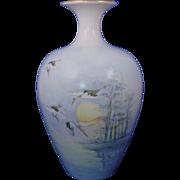 "Willets Belleek ""Japanese Cranes"" Design Vase (c.1915-1930) - Keramic Studio Design"