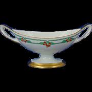 "Lenox Belleek Arts & Crafts Enameled Vine & Berry Motif Handled Dish (Signed ""Adeline Quick""/Dated 1929)"