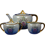 "Reinhold Schlegelmilch (RS) Tillowitz Silesia Arts & Crafts Floral & Lustre Motif Teapot, Creamer & Sugar Set (Signed ""M.S.B.""/c.1904-1938)"