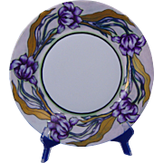 "Haviland Limoges Arts & Crafts Purple Tulip Design Plate (Signed ""Overstreet""/c.1894-1931)"