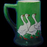 """Porcelaine Limousine (PL) Limoges Arts & Crafts Geese Motif Tankard/Mug (Signed """"L. Donaldson""""/c.1905-1939)"""