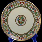 """Julius H. Brauer Studio Haviland Limoges Moorish Design Plate (Signed """"Barges"""" for Edward C. Barges/c.1910-1906)"""