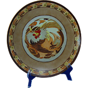 "Thomas Bavaria Arts & Crafts ""Chanticleer""/Rooster Motif Plate (Signed ""M.C.F.""/Dated 1920)"