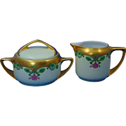 "Rosenthal Donatello Selb Bavaria Arts & Crafts Floral Design Creamer & Sugar Set (Signed ""F.G.""/c.1907-1940)"