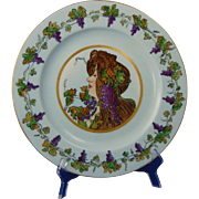 "Rosenthal Selb Bavaria Arts & Crafts ""Privat Livemont Grape Lady"" Design Plate (c.1907-1940) - Keramic Studio Design"