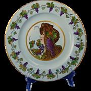 "Rosenthal Selb Bavaria Arts & Crafts ""Privat Livemont Grape Lady"" Design Plate (c.1907-1940)"