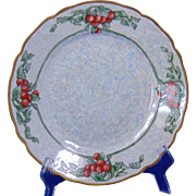 "Hermann Ohme Silesia Arts & Crafts Cherry & Lustre Motif Plate (Signed ""Pendleton""/c.1882-1918)"