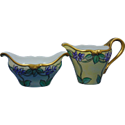 "Delinieres & Co. (D&Co.) Limoges Arts & Crafts Violet Motif Creamer & Sugar Set (Signed ""C. Verle Webb""/c.1900-1920)"