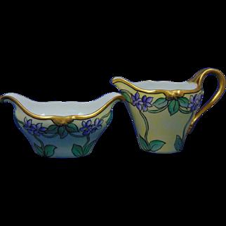 """Delinieres & Co. (D&Co.) Limoges Arts & Crafts Violet Motif Creamer & Sugar Set (Signed """"C. Verle Webb""""/c.1900-1920)"""
