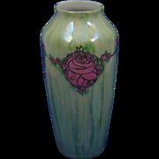 Reinhold Schlegelmilch (RS) Tillowitz Silesia Arts & Crafts Enameled Rose Lustre Motif Vase (c.1917-1930)