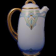 "HC Royal Bavaria Arts & Crafts Floral Motif Coffee Pot (Signed ""B.C. Hazenstab""/c.1910-1930)"