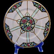 "Bernardaud & Co. (B&Co.) Limoges Arts & Crafts Floral Motif Pedestal Plate (Signed ""O. Gertrude Gibson""/Dated 1920)"