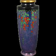 """American Satsuma Arts & Crafts Enameled Floral Vines Motif Vase (Signed """"N. O'Connell""""/c.1910-1930)"""