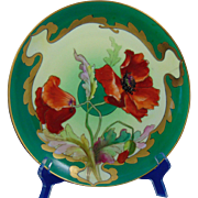 D'Arcy's Art Studio Kalamazoo, MI Haviland Limoges Poppy Motif Plate (c.1900-1920)