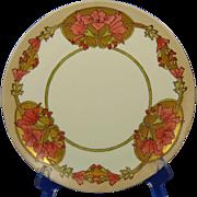 "Moritz Zdekauer (MZ) Austria Arts & Crafts ""Wild Hollyhock"" Design Plate (Signed ""M. Selmeimer""/c.1913-1930) - Keramic Studio Design"