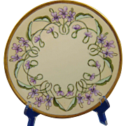 "Favorite Bavaria Arts & Crafts Violet Design Plate (Signed ""N. Dixon""/c.1910-1930) - Keramic Studio Design"