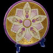 """Jean Pouyat (JP) Limoges Art Nouveau Enameled Plate (Signed """"E. Schofield-Wilde""""/c.1890-1932)"""