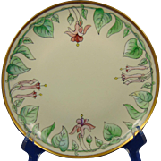 "P.M. Mavaleix (PM de M) Limoges Arts & Crafts Fuchsia Design Plate (Signed ""Maude Oxford""/Dated 1906) - Keramic Studio Design"