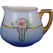 "William Guerin (WG&Co.) Limoges Arts & Crafts Rose Motif Cider/Lemonade Pitcher (Signed ""Farnam""/c.1900-1932)"