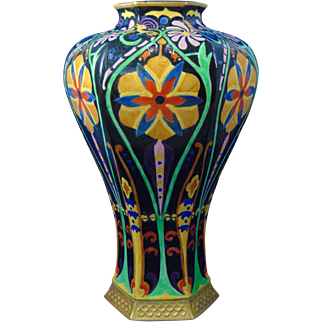 """Lenox Belleek Art Deco Enameled Floral & Bird Design Vase (Signed """"F.E. Welch""""/Dated 1918)"""