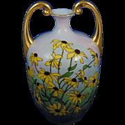 "Jean Pouyat (JP) Limoges Arts & Crafts Handled Black-Eyed Susie Motif Vase (Signed ""E.C.A.""/c.1890-1932)"
