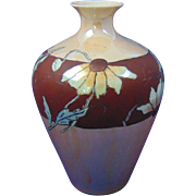 Moritz Zdekauer (MZ) Austria Luster & Matte Black-Eyed Susan Design Vase (c.1905-1930)