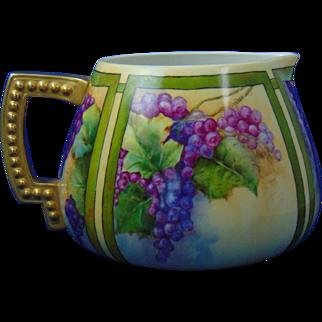 """Lenox Belleek Arts & Crafts Grape Motif Cider/Lemonade Pitcher (Signed """"L.S.""""/Dated 1911)"""