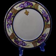 "Haviland Limoges Arts & Crafts Iris/Fleur-de-Lis Motif Plate (Signed ""Evelyn Beachey - Chicago""/Dated 1905)"