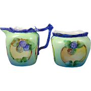 "Favorite Bavaria Arts & Crafts Blackberry Motif Creamer & Sugar Set (Signed ""Maughmer""/c.1910-1930)"