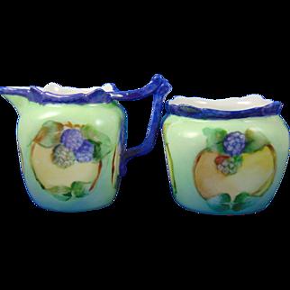 "Favorite Bavaria Arts & Crafts Blackberry Motif Creamer & Sugar Set (Signed ""Maughmer""/c.1910-1930)"