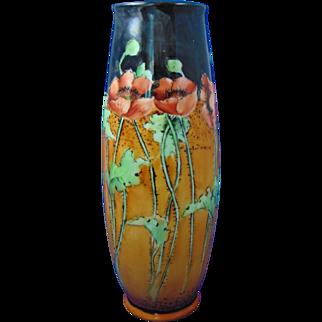 "PH Leonard Austria Arts & Crafts Poppy Motif Vase (Signed ""L.J. Sheets""/c.1910-1930)"