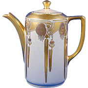 "D&B Germany Arts & Crafts ""Eucalyptus Motif"" Coffee Pot (c.1911-1930) - Keramic Studio Design"