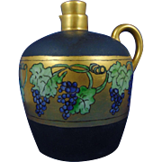 Tressemann & Vogt (T&V) Limoges Arts & Crafts Grape Motif Whiskey Jug/Pitcher (c.1902-1920) - Keramic Studio Design