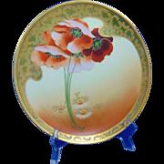 "Osborne Studio Jaeger & Co. Bavaria ""Poppy & Daisy"" Design Plate (Signed ""Osborne""/c.1910-1925)"