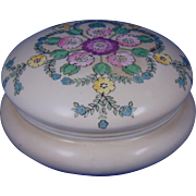"Vignaud Limoges Arts & Crafts Enameled Floral Design Covered Jar (Signed ""L. Roberts""/Dated 1912)"