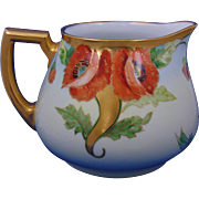 "Heinrich & Co. (H&Co.) Selb Bavaria Arts & Crafts Poppy Design Cider/Lemonade Pitcher (Signed ""Kimmel""/c.1915-1930)"