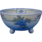 "Porcelain Blank Arts & Crafts Floral Motif Footed Bowl (Signed ""Lila Curtis #33""/Dated 1917) - Keramic Studio Design"