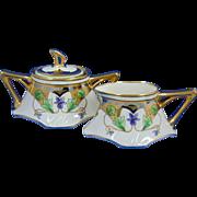 Stouffer Studios Jean Pouyat (JP) Limoges Violet Design Creamer & Sugar Set (Signed/c.1906-1914)